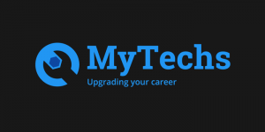 Logo Mytechs zwart blauw PNG